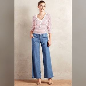 Anthropologie Wide Leg Chambray Jeans